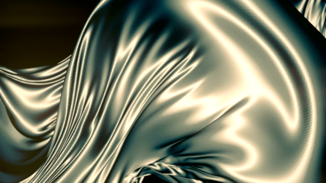 Abstract shiny metallic cloth. Slow motion animation background. 3d rendering. 4K, Ultra HD resolution