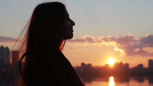 Abstract silhouette of wind blowing women hair at sunset video