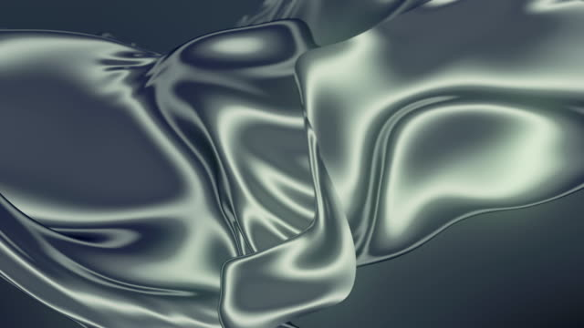 abstract silver shiny metallic cloth. slow motion animation background. 3d rendering. 4k uhd - seta video stock e b–roll
