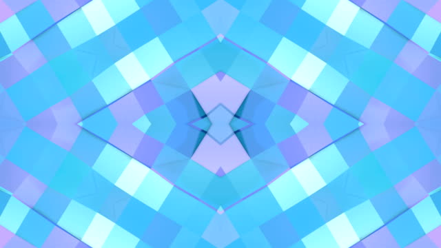 Abstract simple 3D background in blue purple gradient color, low poly style as modern geometric background or mathematical environment with kaleidoscopic effect. 4K UHD or FullHD seamless loop. 4 video