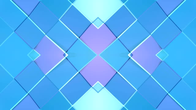 Abstract simple 3D background in blue purple gradient color, low poly style as modern geometric background or mathematical environment with kaleidoscopic effect. 4K UHD or FullHD seamless loop. 8 video