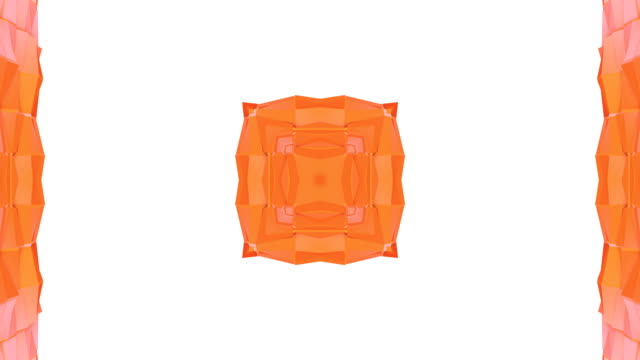 Abstract simple 3D background in orange gradient color, low poly style as modern geometric background or mathematical environment with kaleidoscopic effect. 4K UHD or FullHD seamless loop.V16 video
