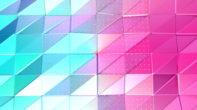 Abstract simple blue pink low poly 3D surface and flying white crystals as futuristic relief. Soft geometric low poly background of pure blue pink polygons. 4K Fullhd seamless loop background. video