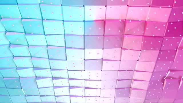 Abstract simple blue pink low poly 3D surface and flying white crystals as stylish 3D background. Soft geometric low poly background of pure blue pink polygons. 4K Fullhd seamless loop background. video