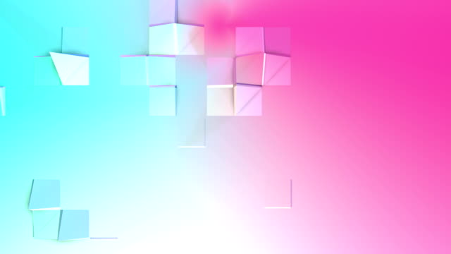 Abstract simple blue pink low poly 3D surface as dream background. Soft low poly motion background of shifting pure blue pink polygons. 4K Fullhd seamless loop background with copy space video