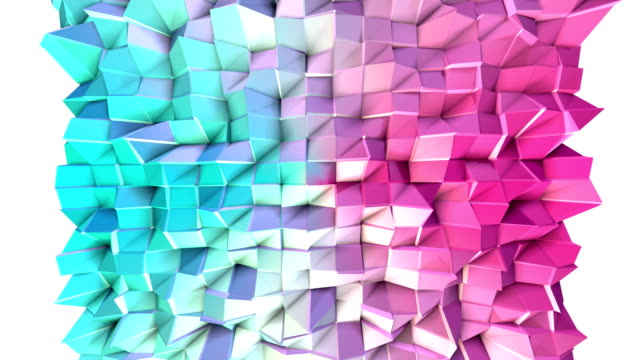 Abstract simple blue pink low poly 3D surface as trendy background. Soft geometric low poly motion background of shifting pure blue pink polygons. 4K Fullhd seamless loop background video