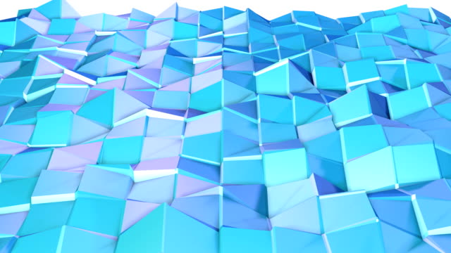 Abstract simple blue violet low poly 3D surface as environment. Soft geometric low poly motion background of shifting pure blue violet polygons. 4K Fullhd seamless loop background. video