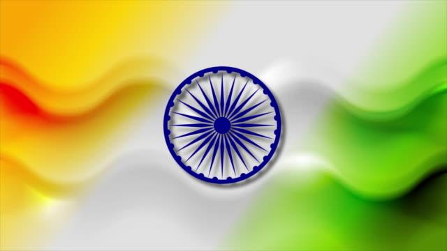 soyut pürüzsüz dalgalar hareket arka plan. hindistan'ın renkleri - cumhuriyet günü stok videoları ve detay görüntü çekimi