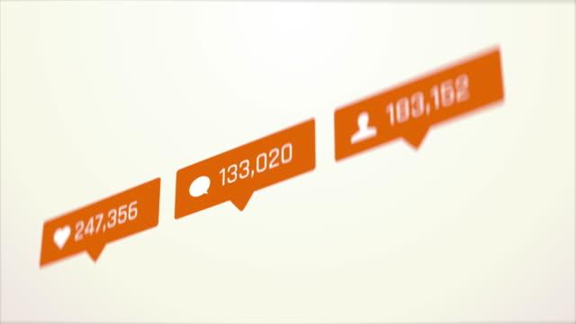 抽象的なソーシャルメディアの背景、いいね、コメントや友人の要求カウンター - community activism点の映像素材/bロール