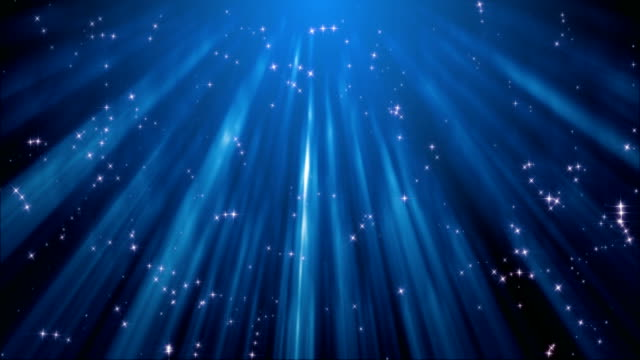 Abstract sparkling stars background (loop) Abstract blue sparkling stars particles 3D animation in the rays of light; loopable blue background stock videos & royalty-free footage