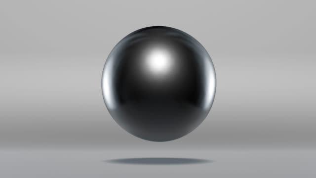 abstract sphere animated, morphing black ball on white stage background, 4k loop - morfing filmów i materiałów b-roll