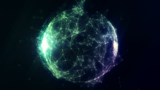 Abstract spherical network background video