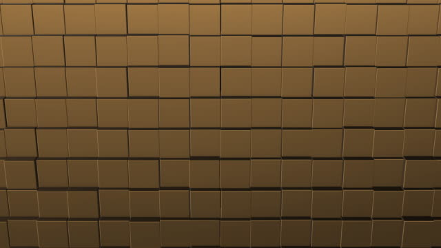 Abstract square geometric surface of minimal beige cubic grid pattern, in motion.