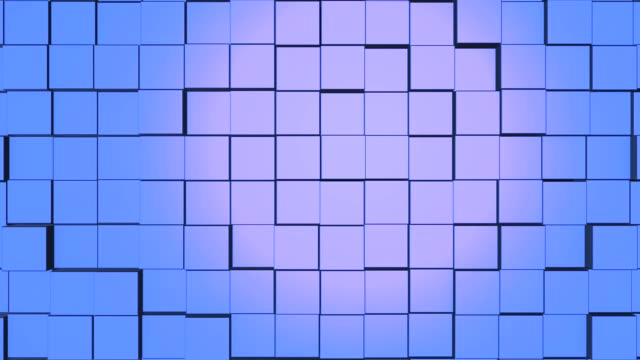 Abstract square geometric surface of minimal blue cubic grid pattern, in motion.