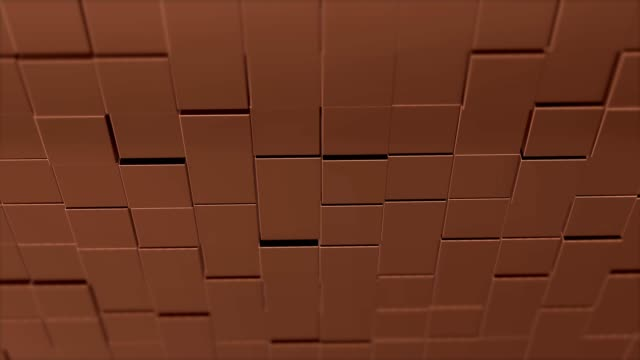 Abstract square geometric surface of minimal brown cubic grid pattern, in motion.