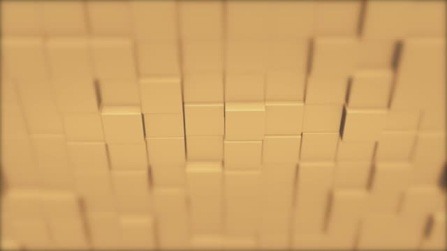 Abstract square geometric surface of minimal creamy cubic grid pattern, in motion.