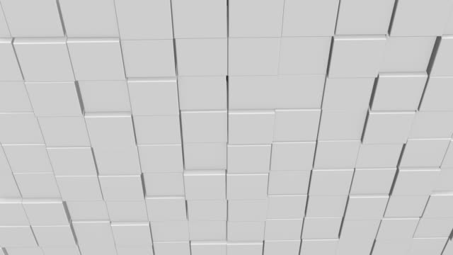 Abstract square geometric surface of minimal white cubic grid pattern, in motion.