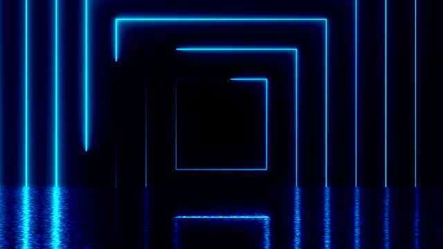 Abstract square neon tunnel with reflection, computer generated background Abstract square neon tunnel with reflection, computer generated background, 3D render background square composition stock videos & royalty-free footage