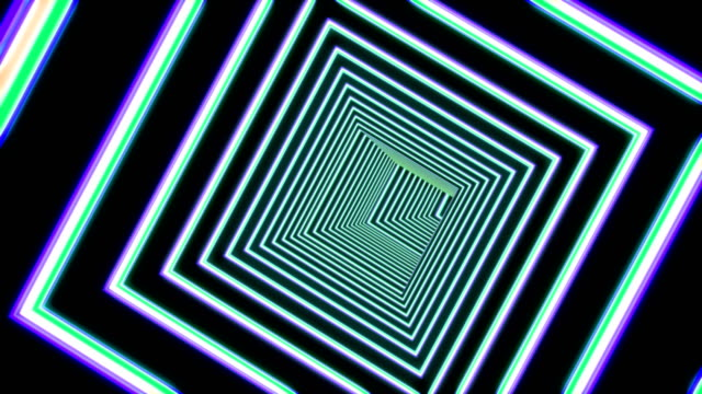 Abstract square tunnel with neon light lines looped animation. Hypnotic flight in virtual swirl with fluorescent beaming. Futuristic cyberspace pathway with zoom in green and violet square borders
