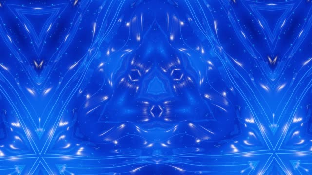 abstract symmetric 3d structures with looped animation, smooth blue color gradients. kaleidoscope effect with abstract fractal waves. beautiful abstract background with 3d pattern. dof - colore saturo video stock e b–roll