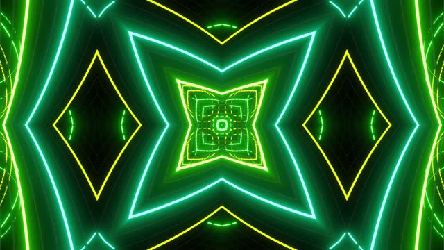 Abstract symmetrical composition, 3d elements light up like bulbs with multicolor neon light. Looped bg for show or events, exhibitions, festivals or concerts, music videos, DJ or VJ for night clubs. video