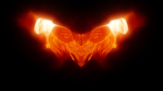 Abstract symmetrical warped plasma flame video