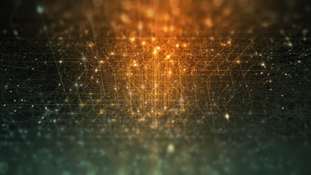 vídeos y material grabado en eventos de stock de fondo tecnológico abstracto hecho de placa de circuito impreso. profundidad de efecto de campo y bokeh. conexiones a internet, computación en la nube y red neuronal, big data. renderizado 3d, bucle sin costuras 4k - equipo informático