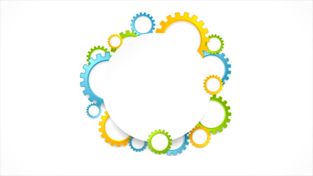 Abstract tech colorful gears and blank circle video animation video