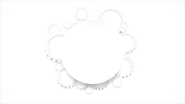 vidéos et rushes de engrenages gris abstrait tech et animation vidéo de cercle blanc - rouage mécanisme