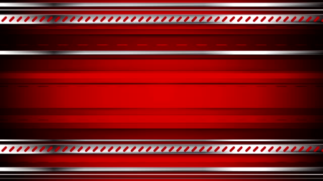 Abstract tech red video animation with metallic stripes video