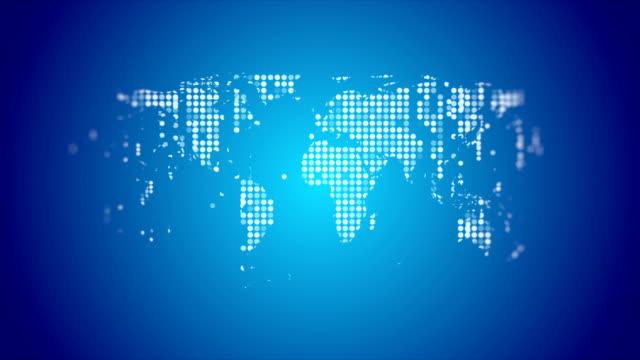 vídeos y material grabado en eventos de stock de mapa del mundo de la tecnología abstracta de la animación de vídeo de puntos brillantes brillantes brillante - world map
