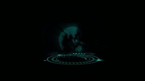 abstrakte technologie-hintergrundkonzeption mit 3d-holographischen erdglobe und ui - hologramm stock-videos und b-roll-filmmaterial