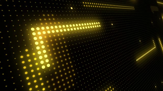 abstract technology background of led screen particles. circuit light animation. (loopable) - luce gialla video stock e b–roll