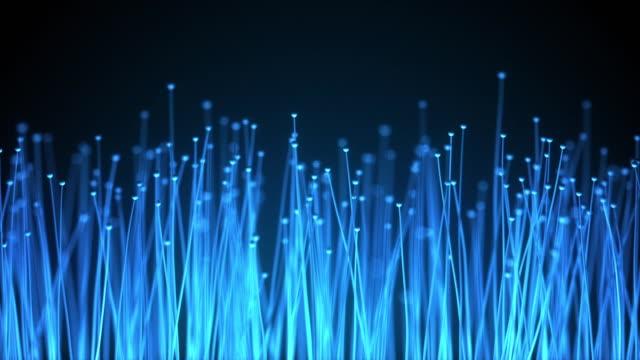 vídeos de stock, filmes e b-roll de abstrato base de tecnologia. animação de fibras ópticas de distribuição do sinal luminoso de um diodo em direção um bando. usado para a conexão de internet de alta velocidade. animação de loop sem costura completa hd - fibra óptica