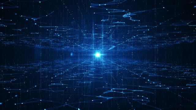 abstrakte technologie big data hintergrundkonzept. bewegung des digitalen datenflusses. übertragung von big data. übertragung und speicherung von datensätzen, blockkette, server, high-speed-internet. - überprüfung stock-videos und b-roll-filmmaterial
