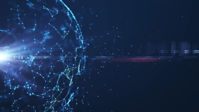 rete tecnologica astratta. - caratteri digitali video stock e b–roll