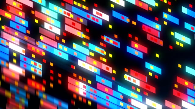 vídeos y material grabado en eventos de stock de resumen tecnología con muchos antecedentes de rectángulos, con reflexión, fondo de renderizado 3d, generación de computadora - mosaico