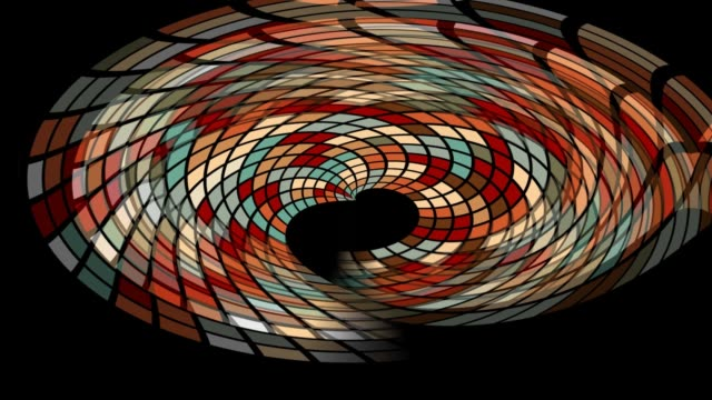 Abstract tiled multicolored shape with tunnel effect on black background video