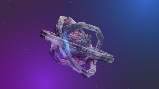 Abstract Torus Space Station and Cube