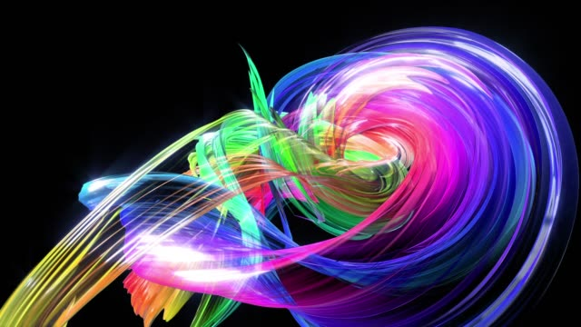 Abstract transparent tapes in motion as seamless creative background. Colorful stripes twist in a circular formation. Looped 3d smooth animation of bright shiny ribbons curled in circle. Multicolored video