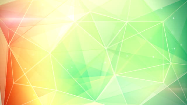 abstract triangle geometrical green orange background loop video