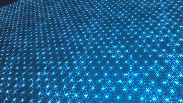Abstract triangular particles on blue background