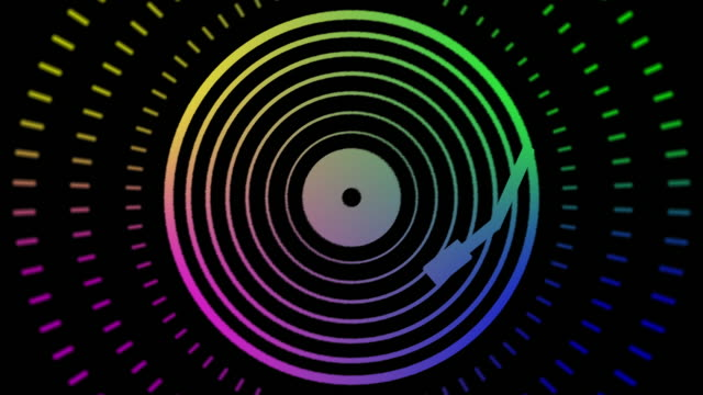 abstract vinyl record music player and audiowave background