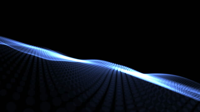 Abstract wave background dark blue particles blurred animation on black background , Technology concept.