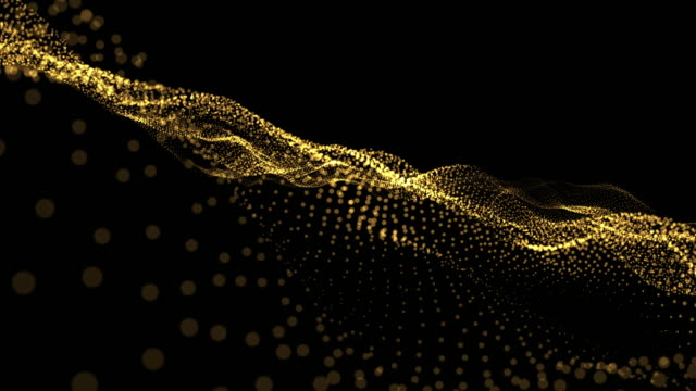 Abstract wave background gold particles blurred animation on black background , Technology concept.