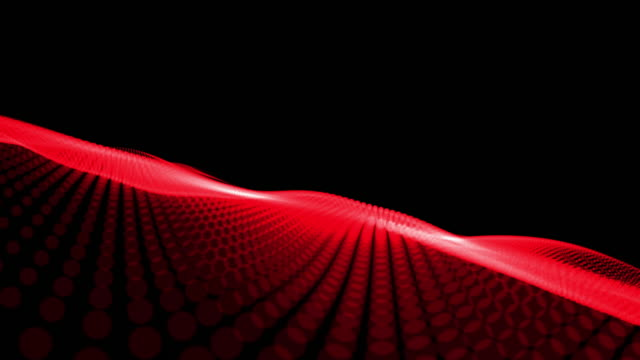 Abstract wave background red particles blurred animation on black background , Technology concept.