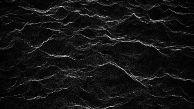 vídeos de stock e filmes b-roll de abstract waves 1 -black and white- motion graphics -10 sec seamless loop - dark background