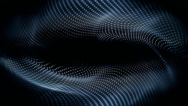 abstract waves background (black) - loop - modalità wire frame video stock e b–roll