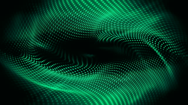 abstract waves background (green) - loop - spirale ricciolo video stock e b–roll