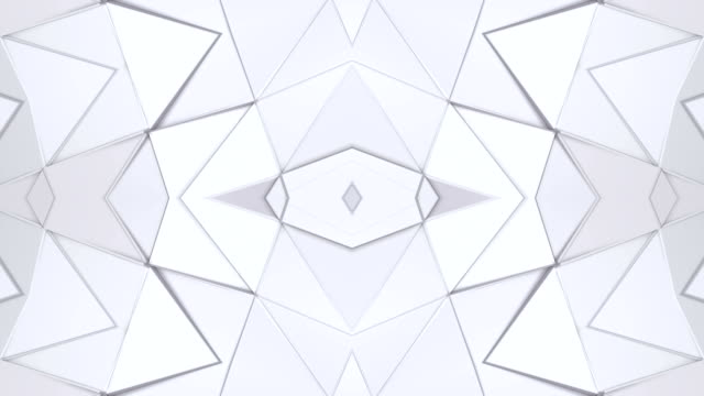 Abstract waving 3D white polygonal grid or mesh of pulsating geometric objects. Use as abstract cyberspace. Geometric vibrating environment or pulsating low poly background. V4 video